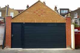 closed garage door with matching side door