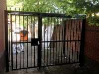 side entrance railing with walk through gate