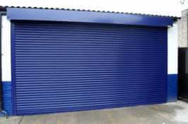 large blue commercial security shutters