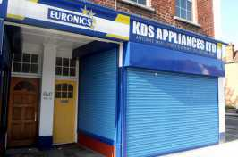blue security shutters for shopfront