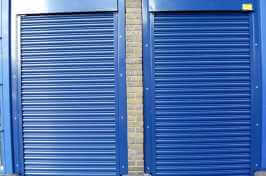 blue security shutters