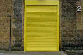 large yellow security shutters