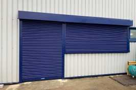 2 blue electric roller shutters