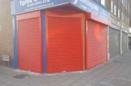 Red powder coated security shutters